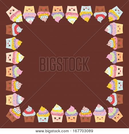 Card design for your text banner template with square frame Cupcake muzzle with pink cheeks and winking eyes pastel colors on chocolate brown background. Vector illustration