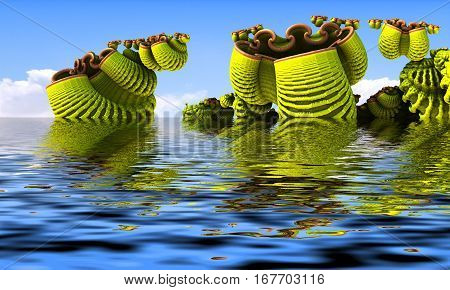 3D illustration of virtual scenery with fictive plants submerged in water