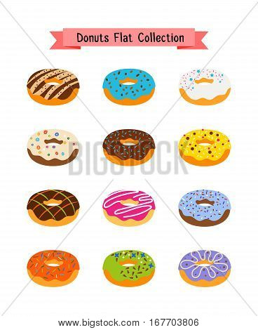 Sweets donuts flat icons. Pastry sugar glazed doughnut set with holes vector illustration. Color pastry donut with icing