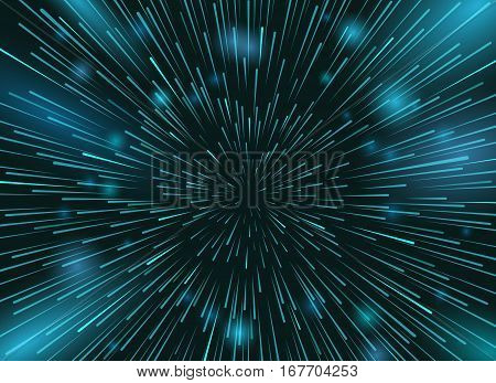 Speed stars in space vector background. Star lights at night sky action wallpaper. Radial space speed rush illustration