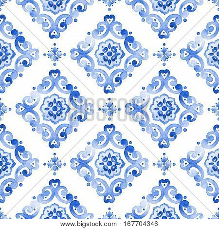 Watercolor royal blue filigree seamless pattern indigo renaissance tiling ornament. Delicate openwork lace. Cobalt blue revival tracery design. Moroccan navy background. Winter stylized snowflakes