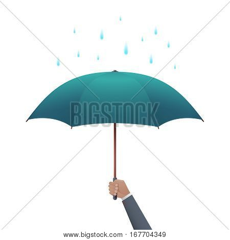 Business protection concept. Businessman hand holding umbrella under dripping rain vector illustration. Security and safety for business, concept of insurance