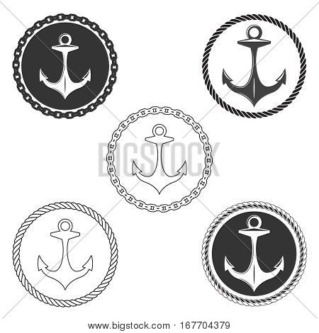 Vintage anchor logo elements set with boat rope and ship chain. Navy seals labels with anchors vector. Marine anchor with sharp hook illustration
