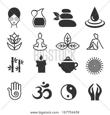 Relax icons vector. Yoga health and spa symbols, zen and skin care. Sign for yoga studio or spa center illustration