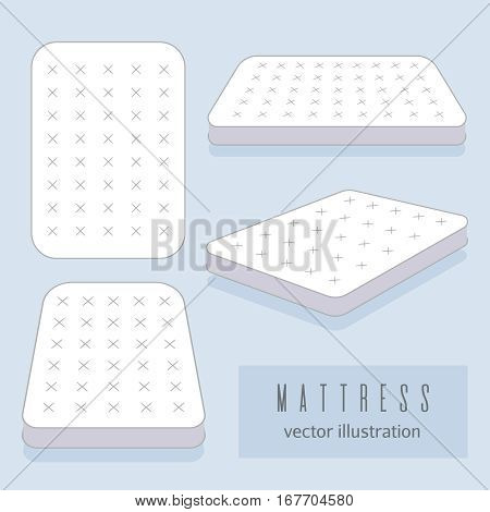 White mattress vector illustration. Motel room sleeping lodge bed. Comfortable double mattress for sleeping