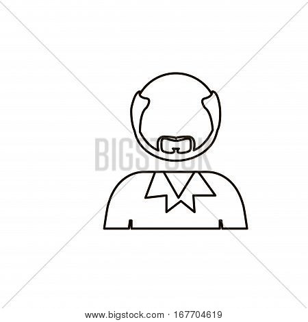 monochrome contour with half body bald man with beard without face vector illustration