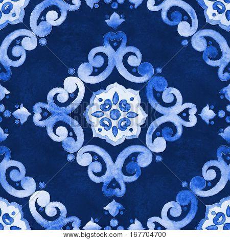 Watercolor royal blue velour seamless pattern renaissance tiling ornament. Delicate filigree openwork lace pattern. Blue velvet revival tracery design. Denim texture background.