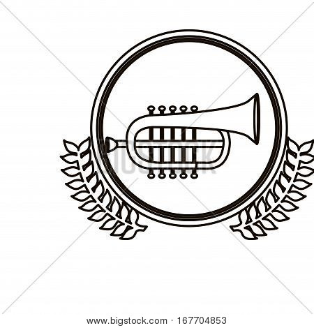 black contour circle with decorative olive branch and trumpet vector illustration