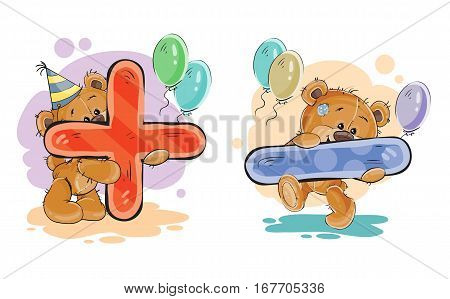 Vector set of mathematical symbols being in the legs in a fun teddy bears. The symbols plus and minus
