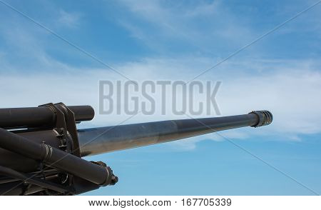 Soft focused picture of Artillery Force machines or Army equipment big gun with nice blue sky