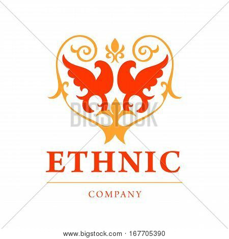 Vintage ethnik logo and emblem with Griffin silhouette in red and yellow color. Abstract fashion ethnic print. Calligraphic flourishes. Logotype for business. Vector illustration