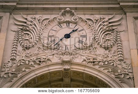 Clock tower on the Rua Augusta Arch in lisbon