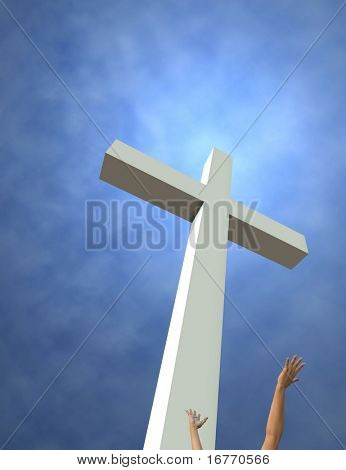 An idealized cross and reaching hands. 3D render. Room for text or crop at top and left.