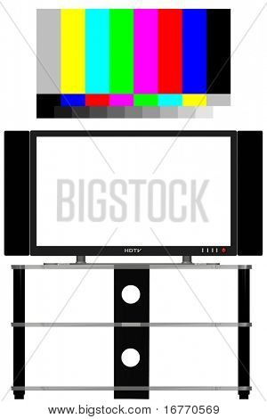 Geometrically precise 3D render of an HDTV, free of glare, shadows; isolated--- INCLUDES a real 16x9 video test pattern, color-correct and up-scalable to any size.