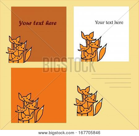 Fanny chanterelles illustration. Invitation vector. Place for your records. Leves for notes. Funny red foxes