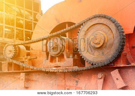 Part of cogwheels in an old crane machinery.