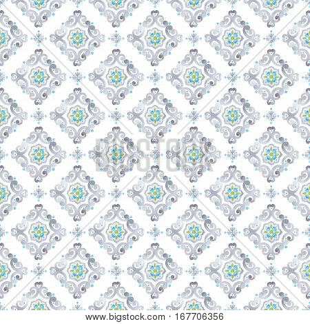 Watercolor filigree seamless pattern medieval tile ornament. Delicate italian pastel openwork lace pattern. Soft gray blue and green moroccan tracery design