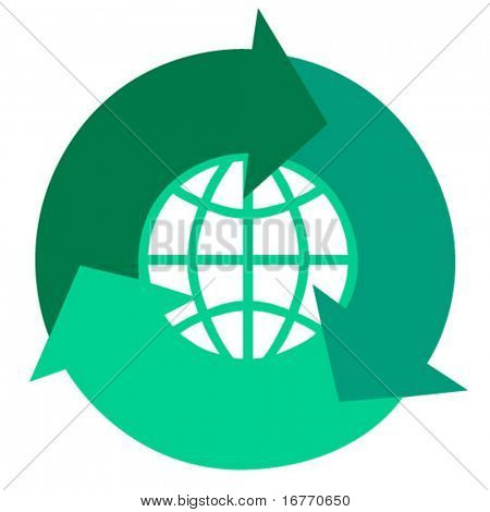 Arrows circle a globe. Image is pure-vector, no CS effects used (have fun adding your own, or use the vectors in Freehand, Corel, etc.)