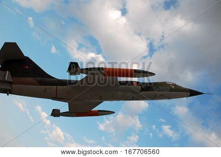 ANKARA, TURKEY - NOVEMBER 17, 2010 : F-104 Starfighter aircraft appearing at the Turkish Air Force Museum of Ankara.
