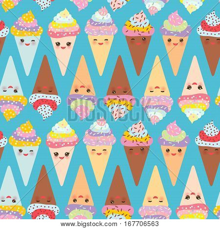 seamless pattern Kawaii funny Ice cream waffle cone muzzle with pink cheeks and winking eyes pastel colors on blue background. Vector illustration