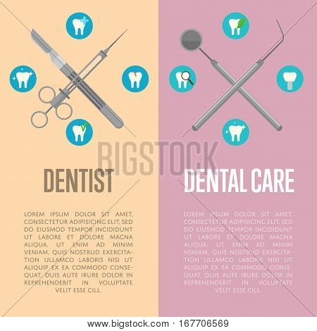 Dental care and dentist vertical flyers with instruments crosswise on color background with round teeth icons. Dentistry isolated vector illustration. Healthcare and tooth care concept. Dental hygiene