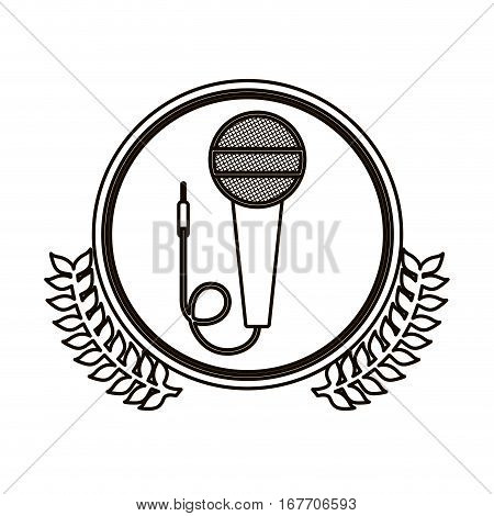 black contour circle with decorative olive branch and microphone vector illustration
