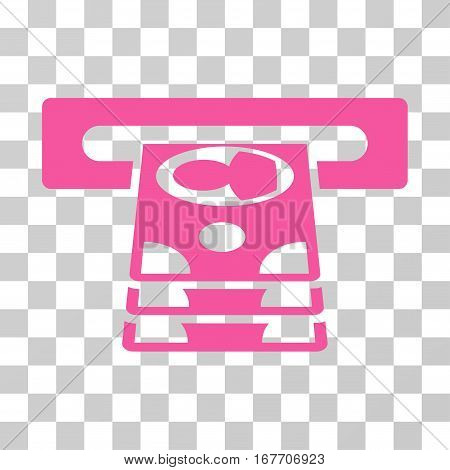 Cashpoint icon. Vector illustration style is flat iconic symbol pink color transparent background. Designed for web and software interfaces.