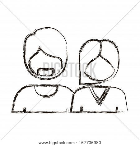 blurred silhouette with half body couple without face she short hair and him with beard vector illustration