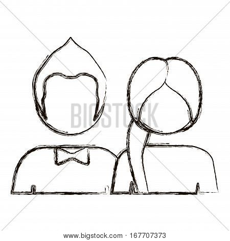 blurred silhouette with half body couple without face she long hair and him with bow tie vector illustration