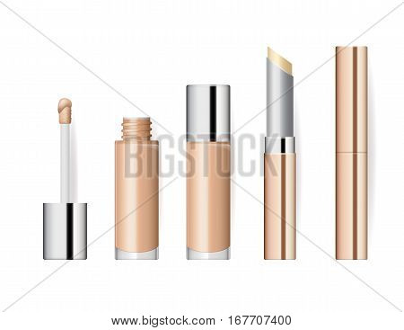 Realistic makeup cosmetics set isolated on white background vector illustration. Lipstick golden sparkling tube, pomade applicator. Decorative facial cosmetics products, beauty fashion makeup. Cosmetics product concept design
