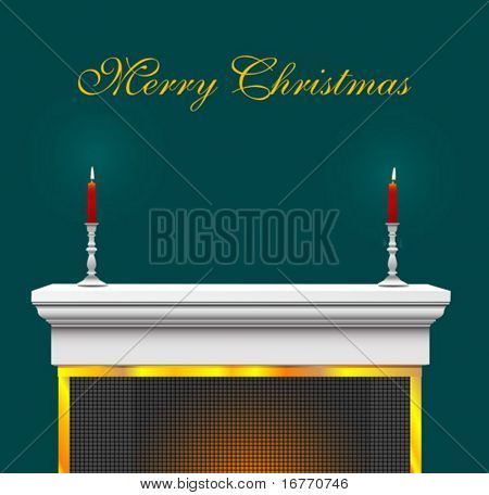 Fireplace Mantle with candles and candlesticks, as a Christmas Background