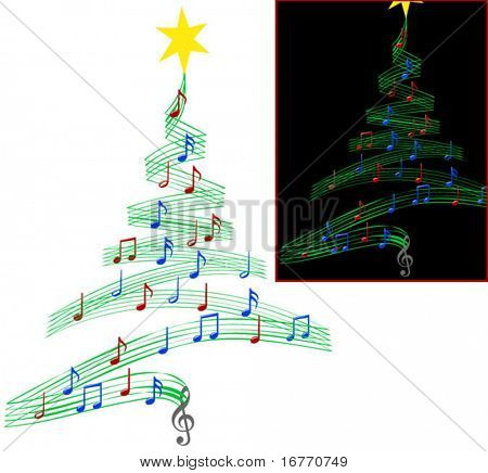 A Christmas tree of Musical Notes symbolizing Christmas carols and other Christmas music, looks good on black or white.