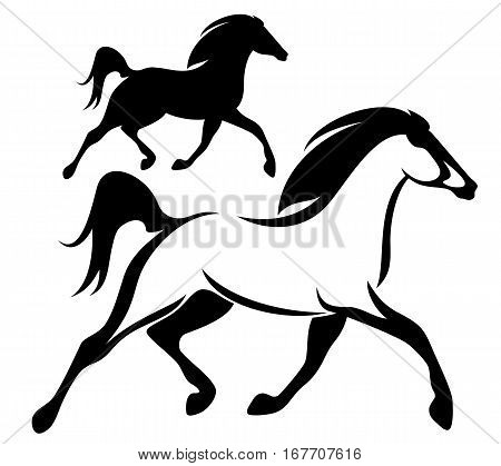 running horse black and white vector outline and silhouette