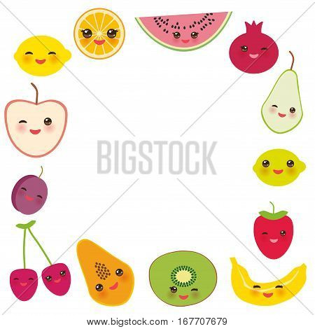 Card Design For Your Text, Banner Template, Square Frame Strawberry, Orange, Banana Cherry, Lime, Le