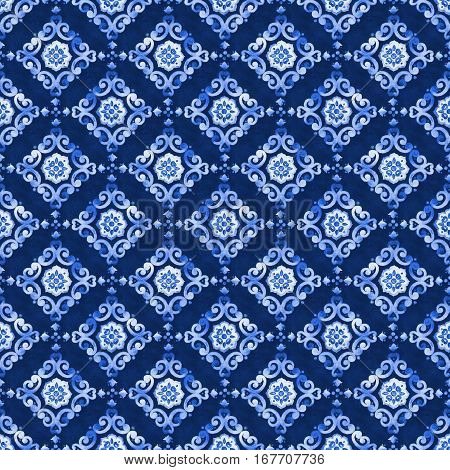 Watercolor royal blue velour seamless pattern, renaissance tiling ornament. Delicate filigree openwork lace pattern. Blue velvet revival tracery design. Denim texture background.