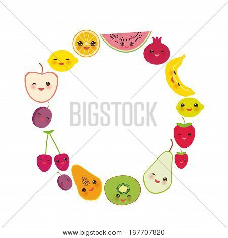 Card design for your text banner template round frame strawberry orange banana cherry lime lemon kiwi plums apples watermelon pomegranate papaya pear pear on white background. Vector illustration