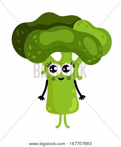 Cute vegetable broccoli cartoon character isolated on white background vector illustration. Funny positive and friendly broccoli emoticon face icon. Happy smile cartoon face, comical vegetable mascot