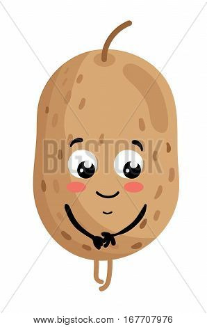 Cute vegetable potato cartoon character isolated on white background vector illustration. Funny positive and friendly potato emoticon face icon. Happy smile cartoon face, comical vegetable mascot