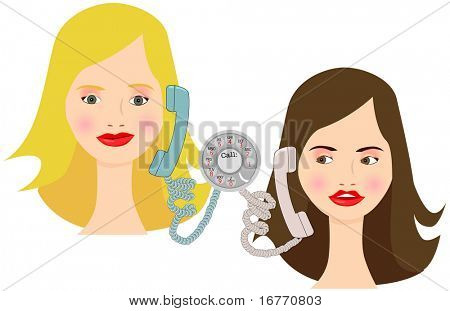 Two cartoon girls talk on retro dial phones. Clean render from vector.