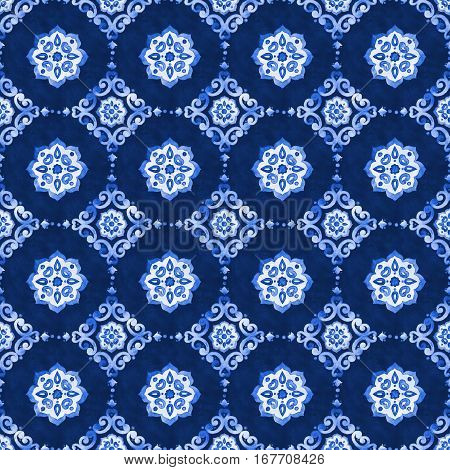 Watercolor royal blue velour seamless pattern, renaissance tiling ornament. Delicate filigree openwork lace. Blue velvet revival tracery design. Denim texture background. Winter stylized snowflakes