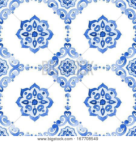 Delft blue style seamless pattern. Watercolor vintage filigree cobalt blue tableware ornament. Dutch motives surface design. Holland tile motives blue background. Winter stylized snowflakes background