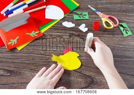The Child Sticks Parts Applications. Easter Card Letter Cockerel Handmade. Children's Art Project, N
