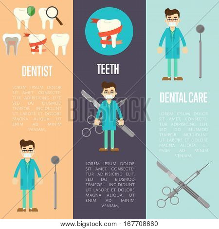 Dental care, dentist and tooth vertical flyers with medical instruments and male dentist in blue medical uniform, vector illustration. Dental treatment and hygiene concept. Stomatology clinic set