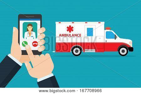 call ambulance car via mobile phone concept emergency call. Smartphone in hand with doctor and ambulance car behind. flat design vector illustration