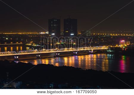 Aerial View Of Long Bien Bridge At Night. Hanoi Skyline Cityscape