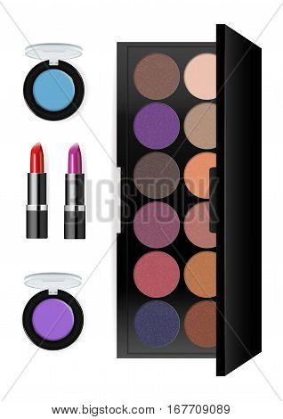 Realistic makeup cosmetics set isolated on white background vector illustration. Lipstick, facepowder, pomade, eye shadow, foundation. Decorative facial cosmetics products, beauty fashion makeup. Cosmetics product concept design