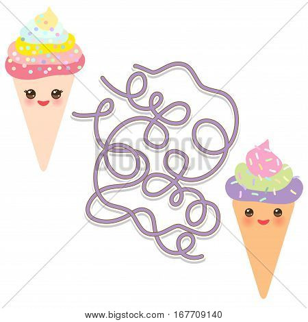 Funny cute set Ice cream waffle cone on white background. labyrinth game for Preschool Children. Vector illustration