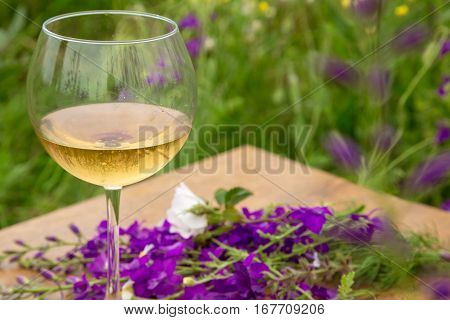 Wine Glass Against Rural Landscape, Flower Collection