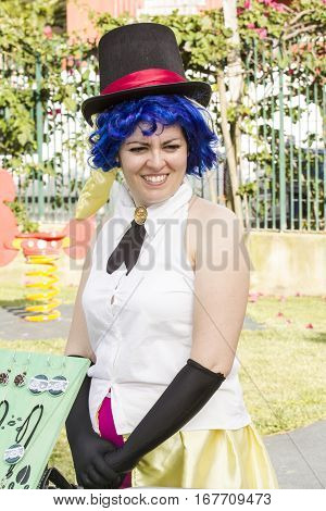 SELARGIUS, ITALY - June 29, 2014: The enchanted garden in Cosplay - Sardinia - portrait of a beautiful smiling girl in cosplay costume