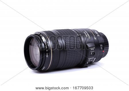Kyiv, Ukraine - February 28, 2016: Canon 70-300Mm F/4.5-5.6 Ef Is Usm Lens. Canon Inc. Is A Japanese